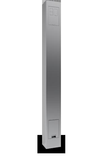 Torretta in acciaio per prese ed interruttori filo muro
